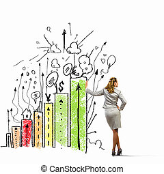 Businesswoman leaning on bars - Image of businesswoman...