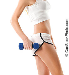 Sporty woman with blue barbells on white background