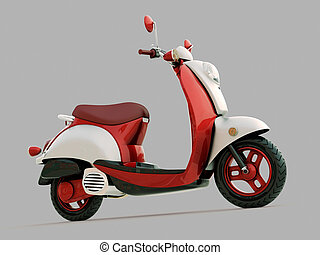 Classic scooter - Modern classic scooter on a grey...