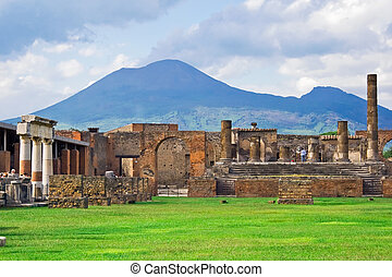 Vesuvius and Pompeii - Ancient ruins of Pompeii and volcano...