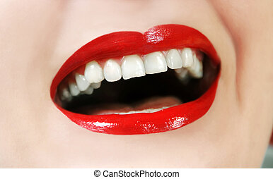 Laughing woman mouth - woman opened mouth white teeth and...