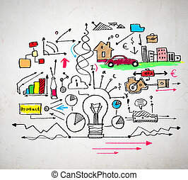 Business colorful sketch image on white background