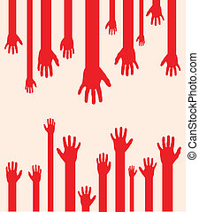 abstract hands - a set of red abstract hand silhouettes