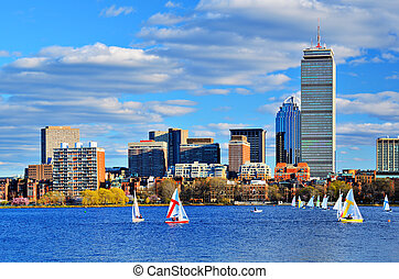 Boston Skyline - Boston, Massachusetts Skyline at Back Bay...