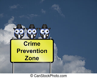 Crime Prevention USA - Comical USA crime prevention zone...