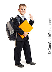 Schoolboy with orange book - Schoolboy with book isolated on...