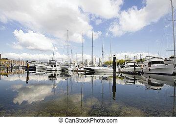 Marina Reflection at Granville Island Vancouver BC - Marina...