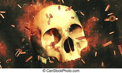 Skull Bullets and Static Looping Animated Background