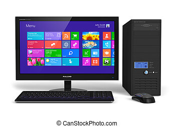 Desktop computer with touchscreen interface - Modern office...