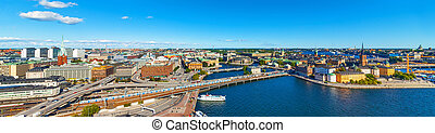 Aerial panorama of Stockholm, Sweden - Scenic wide summer...