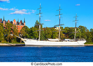 Historical ship ''AF Chapman'' in Stockholm, Sweden - Scenic...