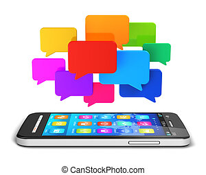 Mobile communication and social media concept - Creative...