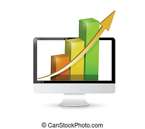 computer with business profits illustration design over a...