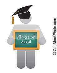 icon holding a class of 2014 chalkboard. illustration design