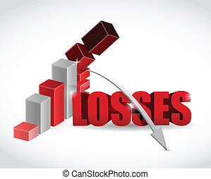 losses graph illustration design over a white background