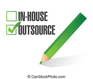 in-house outsource check mark illustration design over white