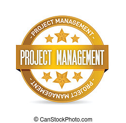 project management seal illustration design over a white...
