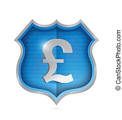 british pound security shield illustration design over white