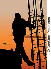 Construction worker - Vector silhouette of construction...