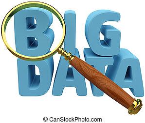 Big Data find information analysis - Magnifying glass to...