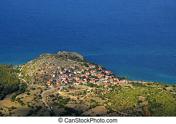 Small fishing village - A view of a small fishing village on...