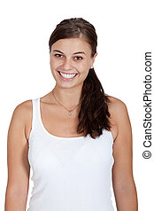 young attractive brunette woman smiling portrait isolated