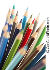 outstanding - red color pencil standing out from others