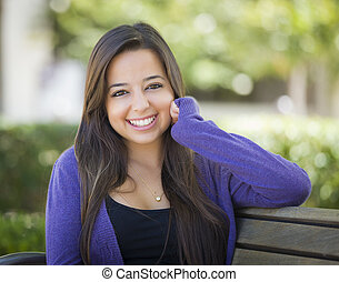 Mixed Race Female Student Portrait on School Campus - Happy...