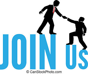 Business people help join up team - Business person helps...