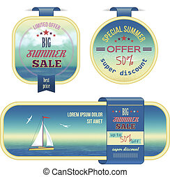 Set of summer sale labels, tags