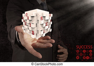 businessman hand shows box of business success chart