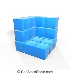 half box of blue cubes isolated on white background