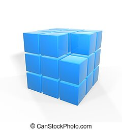 missing cube - missing one of group of cubes isolated on...