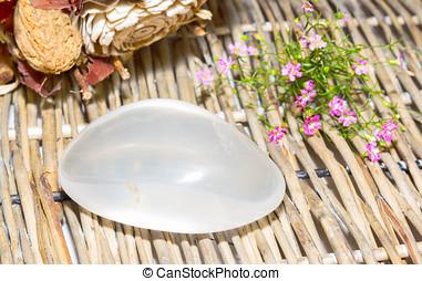 Girasol or fire opal - Polished tumbled stone of girasol or...