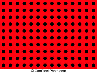 black dot on red background
