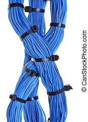 azul, cable, Manojos, global, red