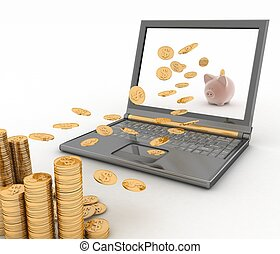 Piggy bank and laptop. Money fly into your computer. 3d...