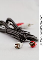 audio RCA cable on a white background - Left-right audio RCA...