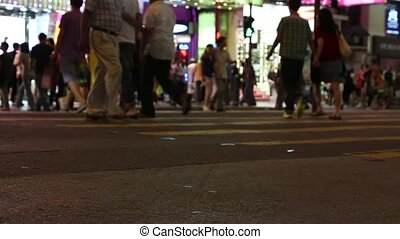 people walking at night