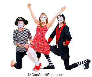 Funny portrait of mimes isolated on white background