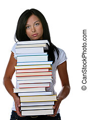 Young student with a stack of books