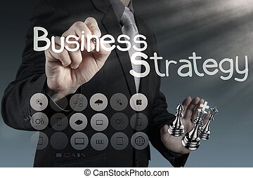 businessman hand draws business success chart