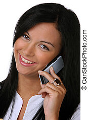 Young woman laughing with mobile phones - Teenagers laughing...