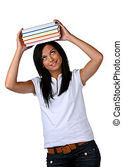Young student learns a stack of books on the head - Young...