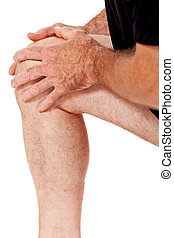 adult attractive man in sportswear knee pain injury ache...
