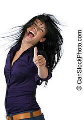 exitoso, felicitaciones, mujer, joven, reír