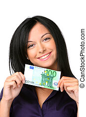 Young woman with euro banknote - Teenagers with a 100 euro...
