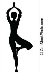 Tree Asana Silhouette - The tree asana is silhouette against...