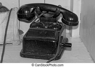 Old black phone with roll bw