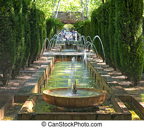 Fountain in the gardens of Hort del Rei at the Cathedral of...